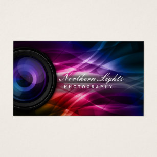 Photography business cards zazzle ca photographer camera lens aurora photography business card colourmoves