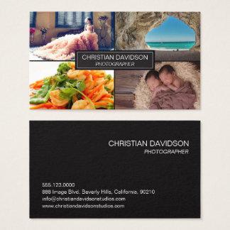 Photographer, customize with photos, black, sleek business card