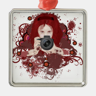 Photographer girl metal ornament