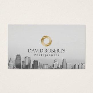 Photographer Gold Shutter Skyline Photography Business Card