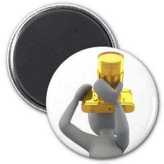 photographer golden camera 2 inch round magnet