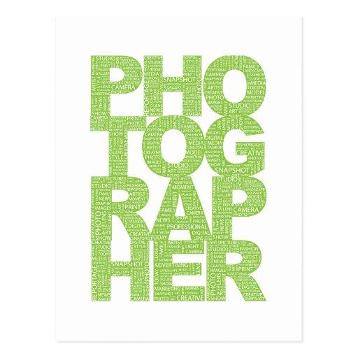 Photographer - Green Text Postcards