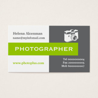 Photographer grey, white, green eye-catching business card