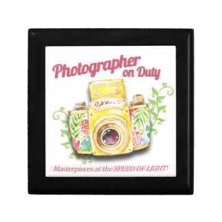 Photographer on Duty vintage camera design Gift Box