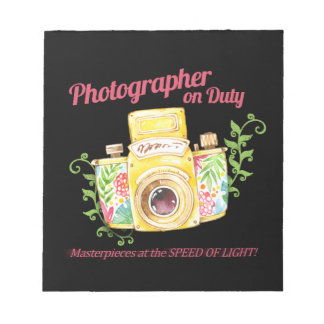 Photographer on Duty vintage camera design Notepad