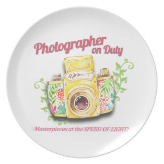 Photographer on Duty vintage camera design Plate