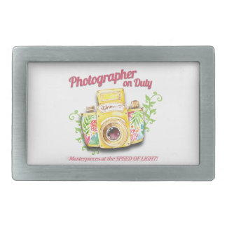 Photographer on Duty vintage camera design Rectangular Belt Buckles
