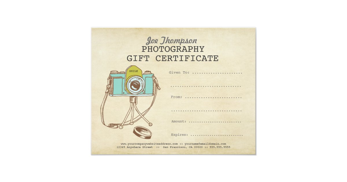 photographer photography gift certificate template x. Black Bedroom Furniture Sets. Home Design Ideas