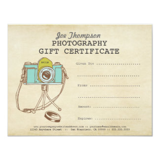 "Photographer Photography Gift Certificate Template 4.25"" X 5.5"" Invitation Card"
