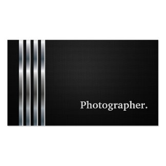 Photographer Professional Black Silver Business Card