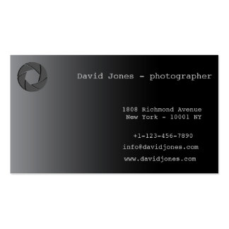 photographer professional business card