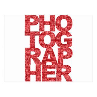 Photographer - Red Text Postcard