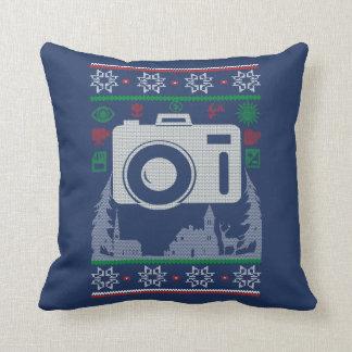 Photographer Ugly Christmas Throw Pillow