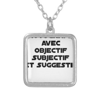 Photographer with subjective and suggestive silver plated necklace