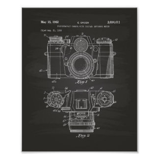 Photographic Camera 1959 Patent Art - Chalkboard Poster
