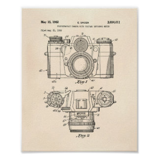 Photographic Camera 1959 Patent Art - Old Peper Poster