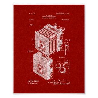 Photographic Camera Patent - Burgundy Red Poster
