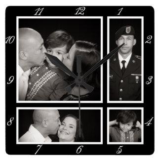 Photographic Collage Four Modern Family Decor Clocks