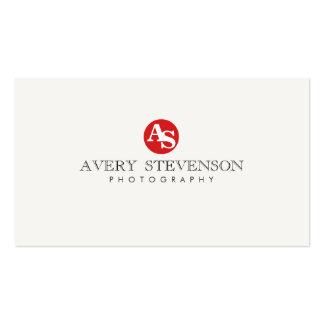 Photographie décorée d'un monogramme rouge de hanc carte de visite standard