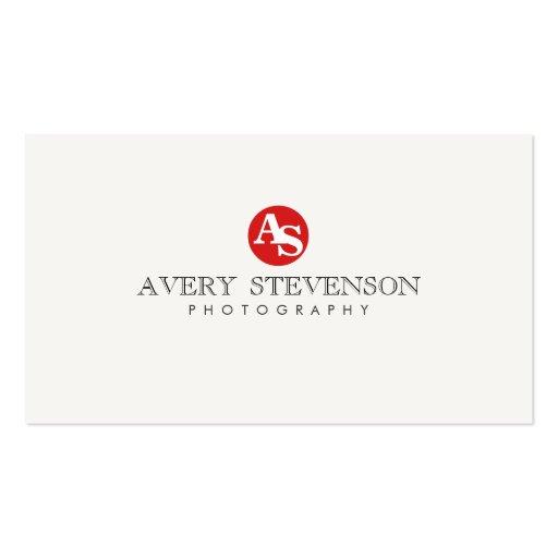 Photographie décorée d'un monogramme rouge de hanc modèle de carte de visite