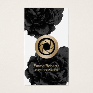 Photographie florale de noir d'appareil-photo d'or cartes de visite