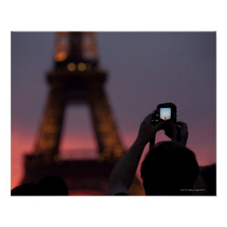 Photographing the Eiffel Tower with a smartphone Poster