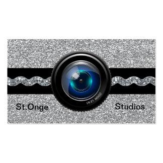 Photography Business Card Silver Elegant Monogram
