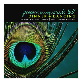 """Photography Colorful Peacock Feather Party Invite 5.25"""" Square Invitation Card"""