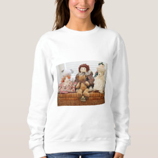 Photography of Vintage Toys, Bears, Rabbit, Doll Sweatshirt