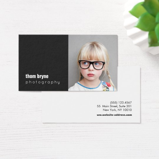 Photography Photographer Black Square Photo Business Card