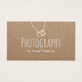 Photography Photographer Camera Rustic Kraft Business Card