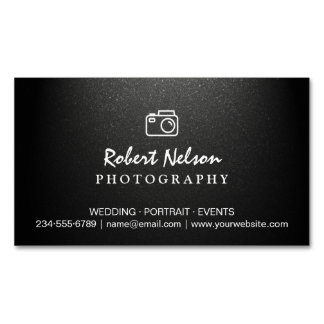 Photography Photographer Camera Simple Matte Black Magnetic Business Card