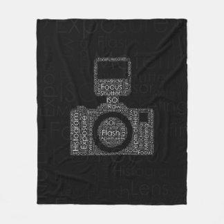 Photography Word Cloud Camera Shape Fleece Blanket