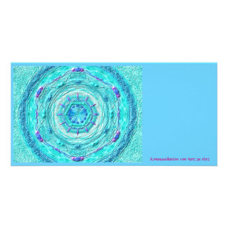 Photomap MagicMandala turquoise Custom Photo Card