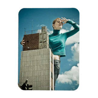 photomontage of young girl on city shot magnet