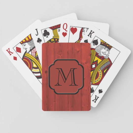 Photorealistic Red Painted Wood, Monogrammed Playing Cards