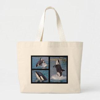 Photos mosaic of killer whales large tote bag