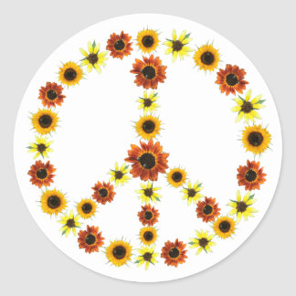Photos of Sunflowers Peace Sign Stickers