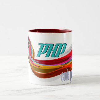 PHP- Red Orange Gray Smooth wave Two-Tone Coffee Mug
