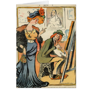 Phryne: caricature of an artist's model card
