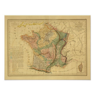 Physical and mineralogical map of France Poster