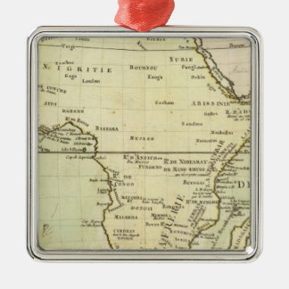 Physical map of Africa Silver-Colored Square Ornament