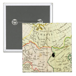 Physical map of Asia 2 Inch Square Button