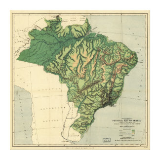 Physical Map of Brazil (1886) Canvas Print
