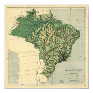 Physical Map of Brazil (1886) Card