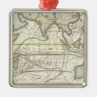 Physical Map of Indian seas Silver-Colored Square Ornament