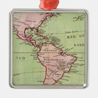 Physical map of the Americas Silver-Colored Square Ornament