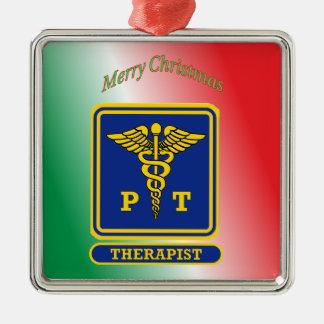 Physical Therapist Caduceus Shield Silver-Colored Square Ornament
