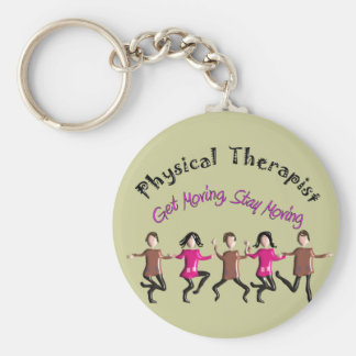 """Physical Therapist Gifts """"Get moving, stay moving"""" Basic Round Button Keychain"""