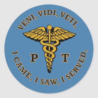 Physical Therapist PT Caduceus VVV Shield Round Sticker